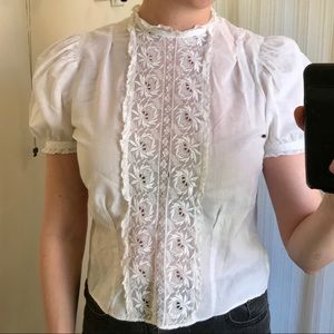 1950s Vintage Sheer White Cotton Blouse